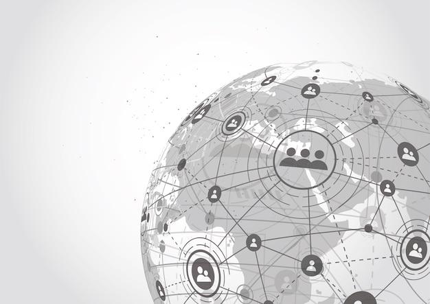 Connexion réseau globale. point de la carte du monde et ligne