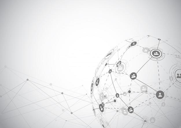 Connexion réseau globale. point de la carte du monde