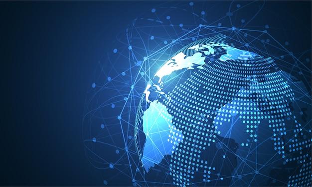 Connexion réseau globale. point de carte du monde