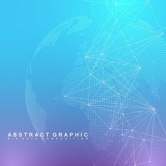 Connexion réseau mondiale. arrière-plan de visualisation de réseau et de données volumineuses. affaires mondiales. illustration vectorielle.
