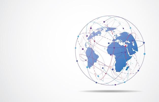 Connexion réseau mondiale. concept de composition de points et de lignes de carte du monde des affaires mondiales. illustration vectorielle