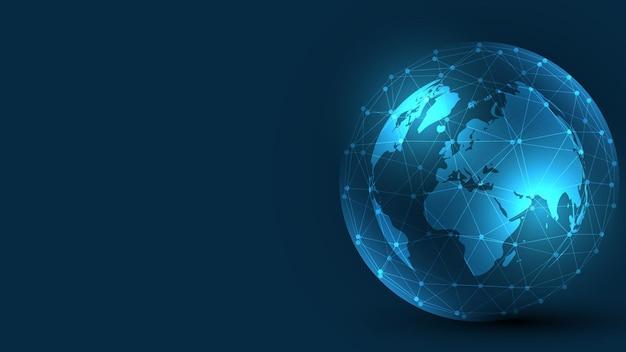 Connexion réseau mondiale. technologie mondiale. concept d'innovation d'entreprise mondiale de fond de technologie abstraite de carte du monde
