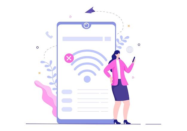 Connexion sans fil perdue ou câble déconnecté, pas de signal internet wifi, page introuvable sur l'écran du smartphone. illustration vectorielle de fond