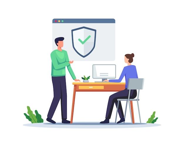 Connexion sécurisée et inscription illustration conceptuelle. l'utilisateur utilise une connexion sécurisée et une protection par mot de passe sur le site web ou le compte de médias sociaux. vecteur dans un style plat