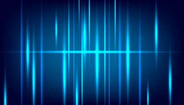 Connexion de technologie numérique à effet de lumière bleue néon sur fond bleu foncé.