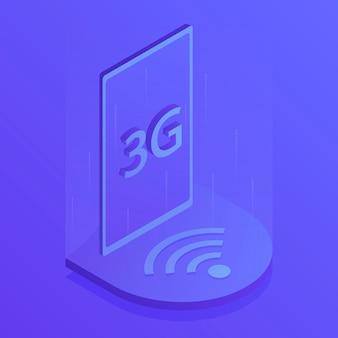 Connexion wifi internet sans fil 3g. réseau mondial. illustration vectorielle moderne dans un style isométrique.