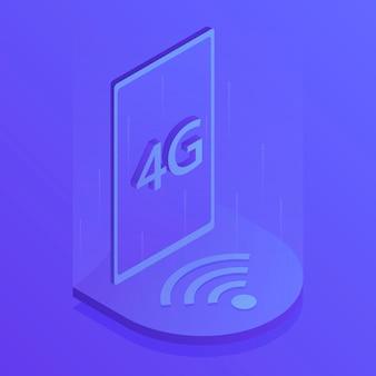 Connexion wifi internet sans fil 4g. technologie de débit de données de connexion d'innovation à grande vitesse de réseau mondial. illustration vectorielle moderne dans un style isométrique.