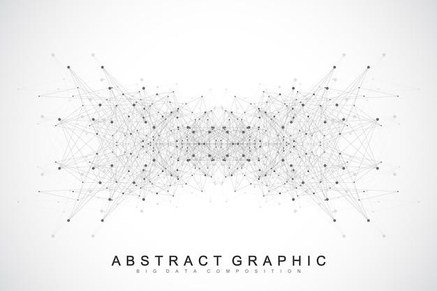 Connexions au réseau mondial avec des points et des lignes. contexte de la visualisation de réseau et de big data. entreprise mondiale futuriste. illustration vectorielle.