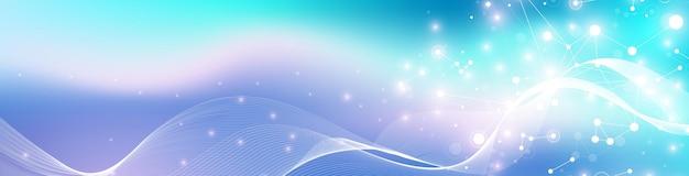 Connexions au réseau mondial avec des points et des lignes. flux de vague de communication sur les réseaux sociaux. affaires mondiales. la technologie internet. illustration vectorielle.
