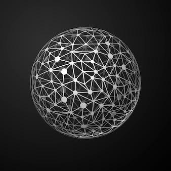 Connexions mondiales sphère métallique, concept de communication abstrait