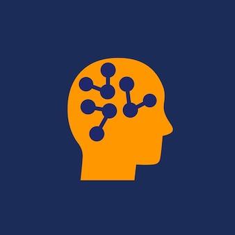 Connexions neuronales dans l'icône du cerveau avec une tête