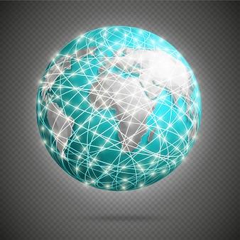 Connexions numériques globales avec des lumières rougeoyantes autour de la terre