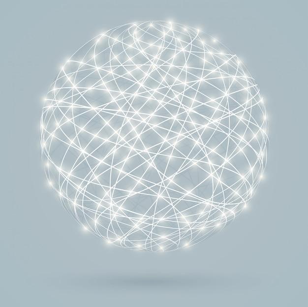 Connexions numériques globales avec lumières rougeoyantes, réseau