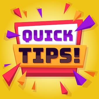 Conseil rapide. trucs et conseils utiles sur l'arrière-plan des articles de blog