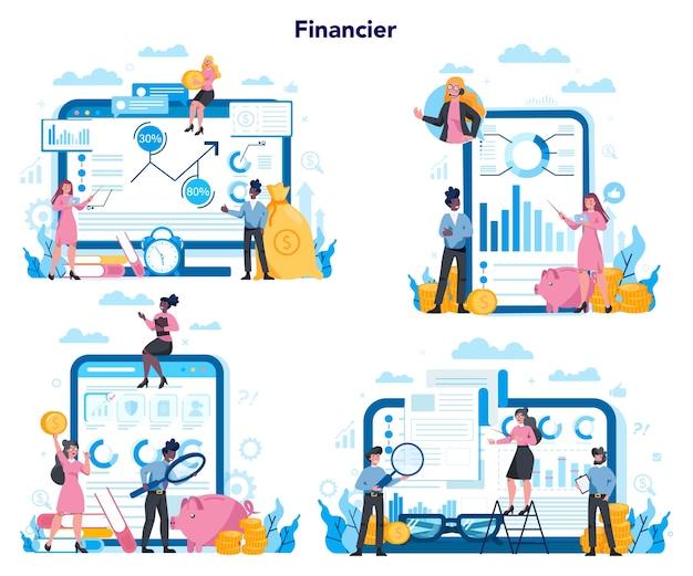 Conseiller financier ou plate-forme financière sur un ensemble de concepts d'appareils différents. caractère commercial faisant des opérations financières. calculatrice, investissement, recherche et contrat.
