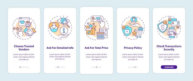 Conseils d'achat en ligne écran de la page de l'application mobile d'intégration avec des concepts