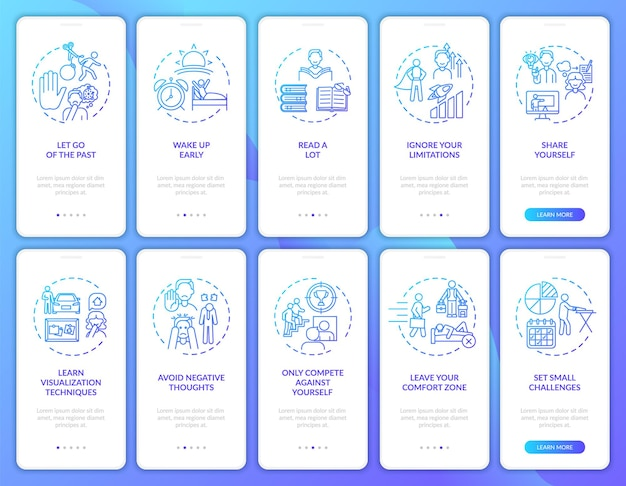 Conseils d'autodéveloppement sur l'écran de la page de l'application mobile de la marine avec un ensemble de concepts