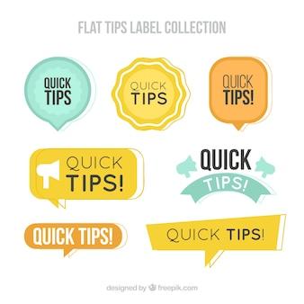 Conseils collection d'étiquettes dans un style plat