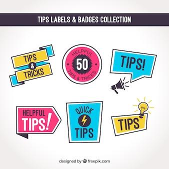 Conseils collection d'étiquettes avec un design plat