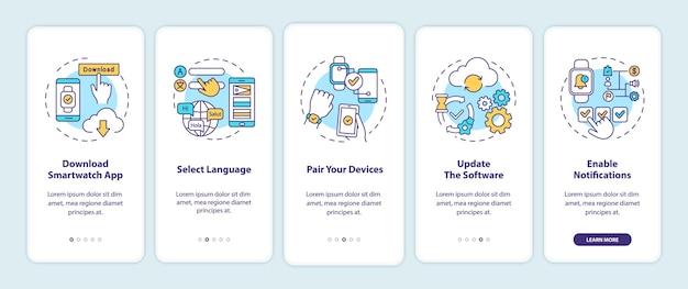 Conseils de configuration de la montre intelligente sur l'écran de la page de l'application mobile avec des concepts.