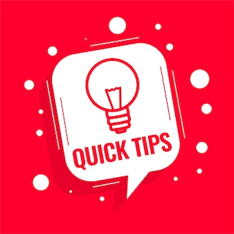 Conseils de conseils rapides avec ampoule sur fond rouge