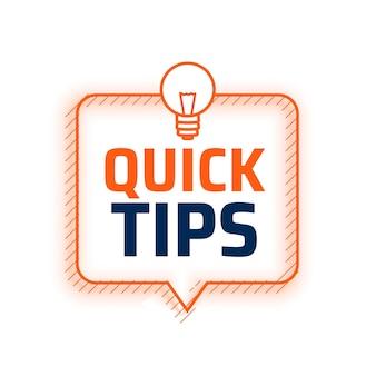 Conseils de conseils rapides avec fond d'ampoule