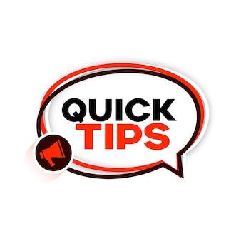 Conseils de conseils rapides avec fond de mégaphone
