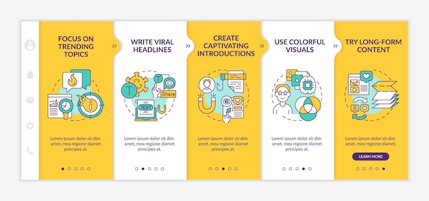 Conseils de création de contenu intéressants pour l'intégration d'un modèle vectoriel. site web mobile réactif avec des icônes. écrans de présentation de page web en 5 étapes. écrire le concept de couleur des titres viraux avec des illustrations linéaires