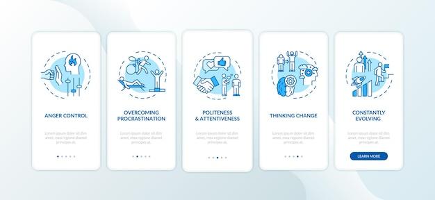 Conseils de croissance personnelle pour intégrer l'écran de la page de l'application mobile avec des concepts. évoluer et se développer. réalisez des instructions graphiques en 5 étapes pour atteindre l'objectif. modèle vectoriel d'interface utilisateur avec illustrations en couleur rvb