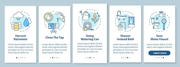 Conseils d'économie d'eau à bord de l'écran de la page de l'application mobile avec des concepts. l'économie d'argent, la consommation d'eau réduisent les instructions graphiques en cinq étapes. modèle vectoriel d'interface utilisateur avec illustrations en couleur rvb