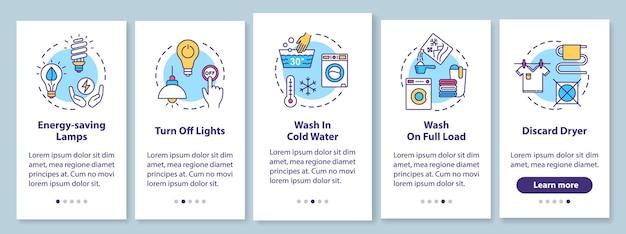 Conseils d'économie d'énergie lors de l'intégration de l'écran de la page de l'application mobile avec des concepts. économisez de l'argent sur l'eau et l'électricité pas à pas avec les instructions graphiques en cinq étapes. modèle vectoriel d'interface utilisateur avec illustrations en couleur rvb