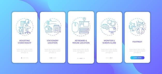 Conseils d'ergonomie de bureau sur l'écran de la page de l'application mobile d'intégration avec des concepts