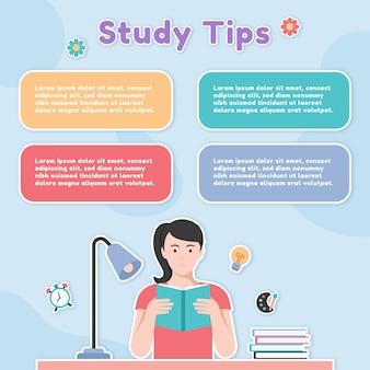Conseils d'étude infographique avec livre de lecture de femme