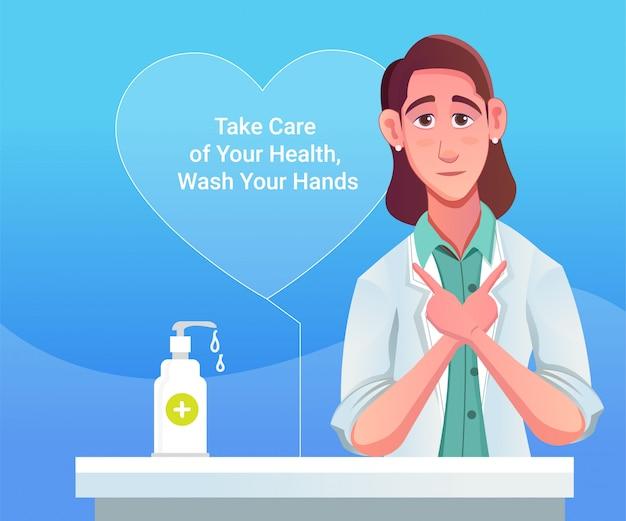 Conseils de femmes médecins sur la pandémie du virus corona covid 19 et le désinfectant pour les mains, savon