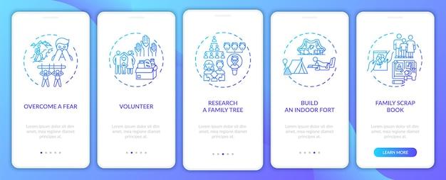 Conseils sur les liens familiaux sur l'écran de la page de l'application mobile d'intégration avec des concepts. procédure pas à pas de création de livre de scrap de famille 5 étapes. modèle d'interface utilisateur avec illustrations en couleurs rvb