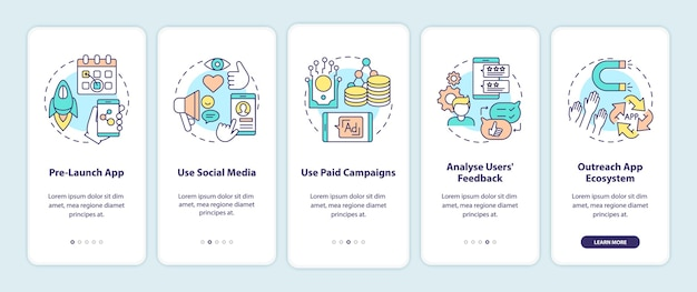 Conseils de marketing d'application sur l'écran de la page des applications mobiles d'intégration avec des concepts