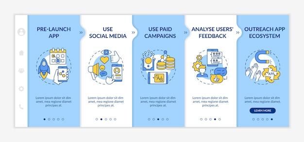 Conseils de marketing d'application sur le modèle d'embarquement. application de lancement de pré-version. utilisation des médias sociaux.