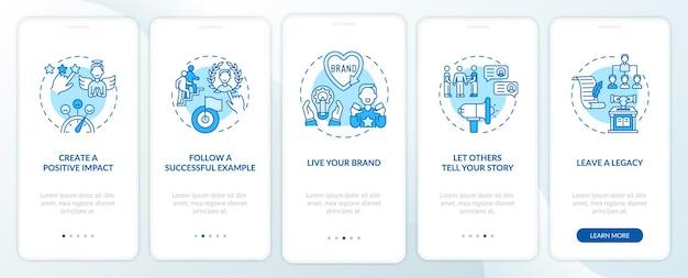 Conseils de marque personnelle écran de page d'application mobile d'intégration bleue avec concepts