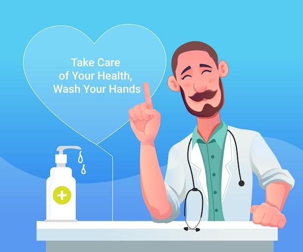 Conseils d'un médecin masculin sur la pandémie du virus coronanovel covid 19, savon, désinfectant pour les mains et stéthoscope