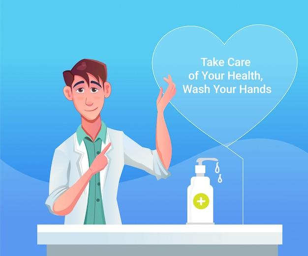 Conseils d'un médecin pour hommes sur la pandémie du virus corona covid 19, désinfectant pour les mains, savon
