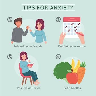 Conseils pour le concept d'infographie d'anxiété