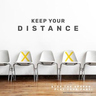Conseils pour garder vos distances par l'annonce sociale vectorielle de l'oms