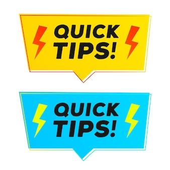 Des conseils rapides sur l'autocollant vectoriel définissent un style moderne pour une solution de badge d'info-bulle et une bannière de conseils utiles