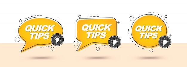 Conseils rapides, bannière d'astuces utiles