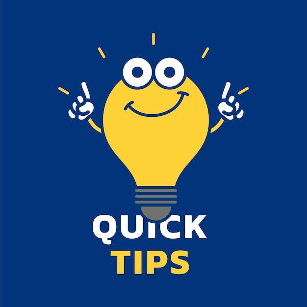 Conseils rapides contenu vecteur fond carré avec conception de vecteur icône ampoule