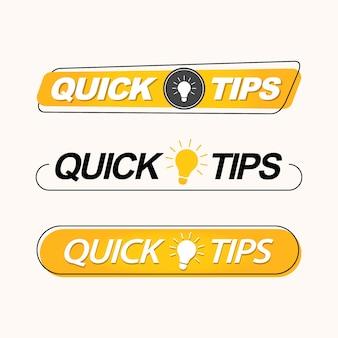 Conseils rapides, ensemble d'étiquettes, de logos ou d'emblèmes