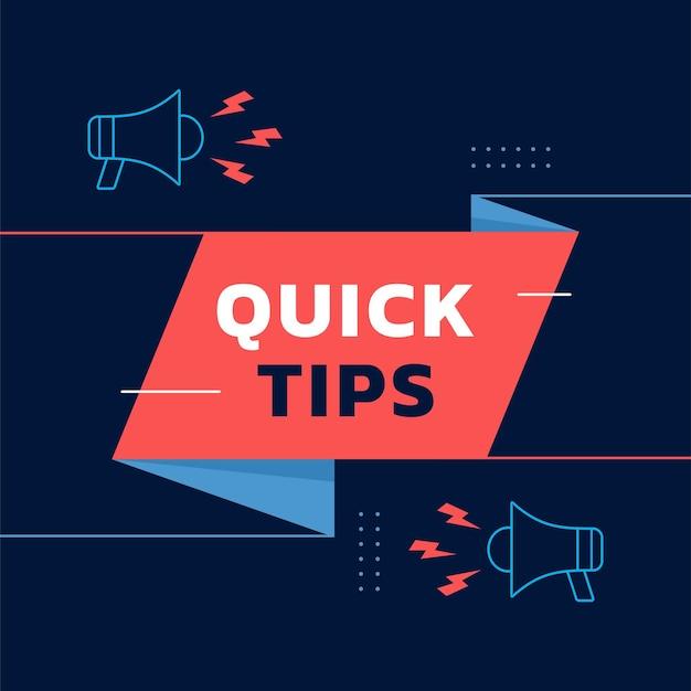 Conseils rapides fond carré de vecteur de contenu avec la conception de vecteur d'icône de haut-parleur