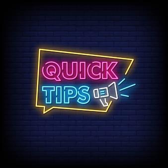 Conseils rapides néon style style texte vecteur