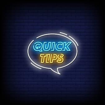 Conseils rapides texte de style d'enseignes au néon