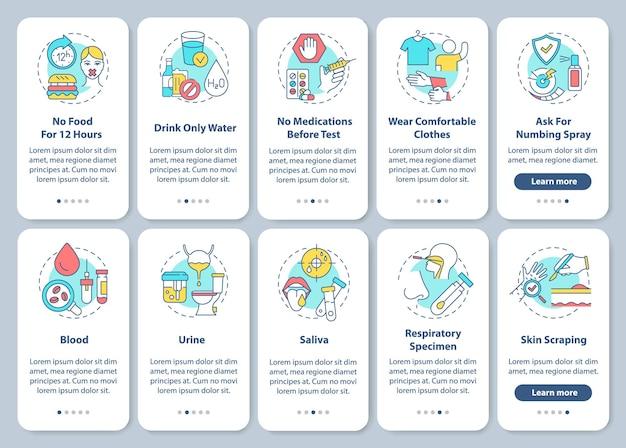 Conseils de test sanguin sur l'écran de la page de l'application mobile d'intégration avec des illustrations de concepts